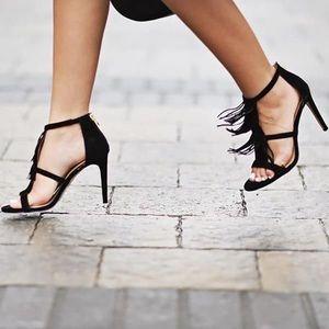 Comfortable high heel shoes w/fringe details